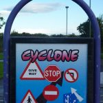 Photograph of cyclone sign