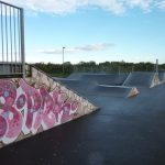 Photograph of skate ramps