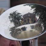 Photograph of village hall reflections in instrument
