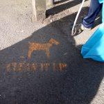 Photograph of volunteer claen it up stencil
