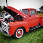 Photograph of classic american pick up truck in red