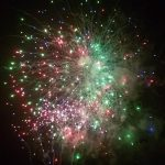 fireworks going off a spattering of colour