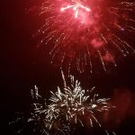 Image of fireworks going off bright red burst