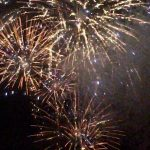 fireworks going off ;eaving the night colourful
