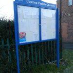 Parish council notice board at Quarrington Hill when it was brand new
