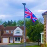 Flag flying in streeet in Coxhoe