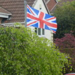 Flag flying from lampost