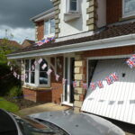 Bunting on a house in Coxhoe