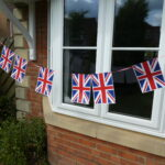 Some bunting outside window