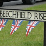 Beechfield Rise streets sign with bunting