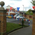 Bunting over footpath