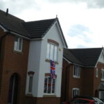 VE Day flags on a house
