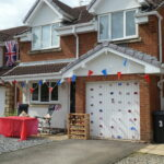 decorated house with bunting