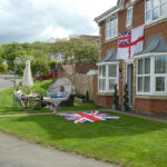 residents enjoying VE day in their own garden