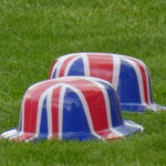 union jack bowler hats on the lawn