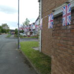 A row of some flags in garden
