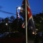 Flag in the final light of the day