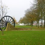 The pitwheel behind an elm tree in autumn 2020
